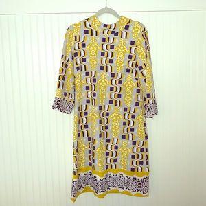 J. McLaughlin Yellow Print Dress Medium